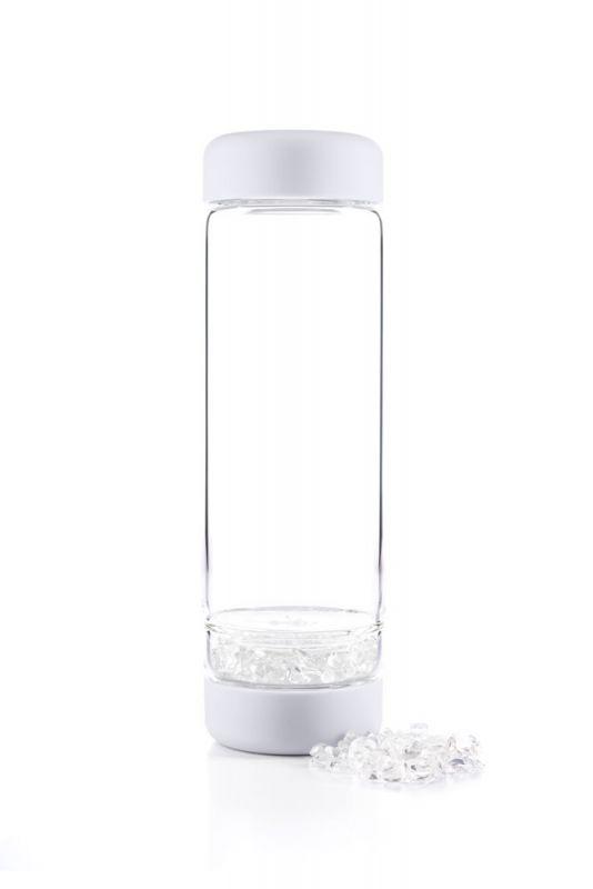 Wasserflasche wiederverwendbar weiß. modern mit Edelsteinen. Water bottle for to-go. modern. stylish with crystals.