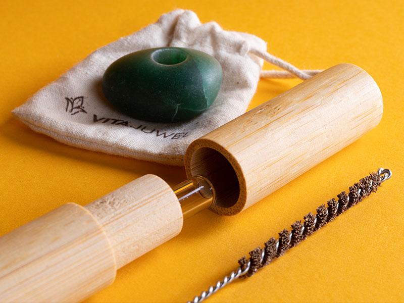 vitajuwel crystal straws glass straw bamboo case coconut fiber cleaning brush