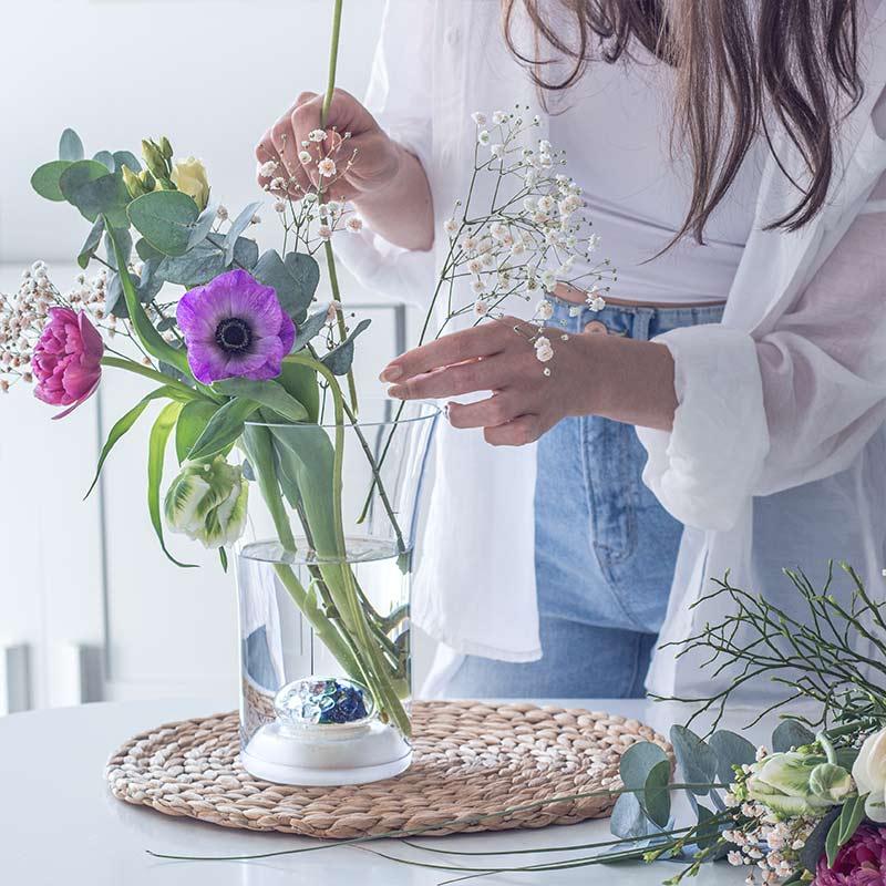 vitajuwel flower vase blooming gemstones glass
