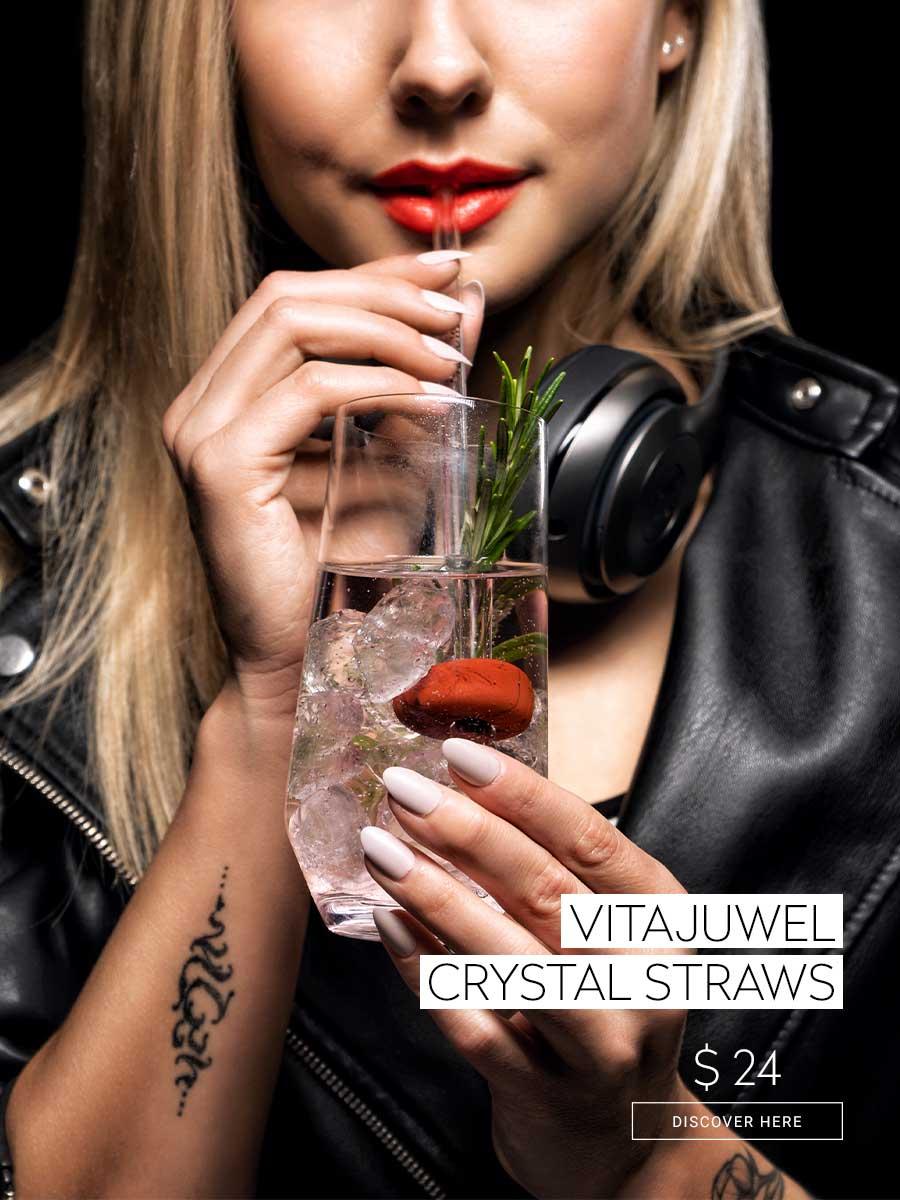 vitajuwel crystal straw glass straw with gemstone