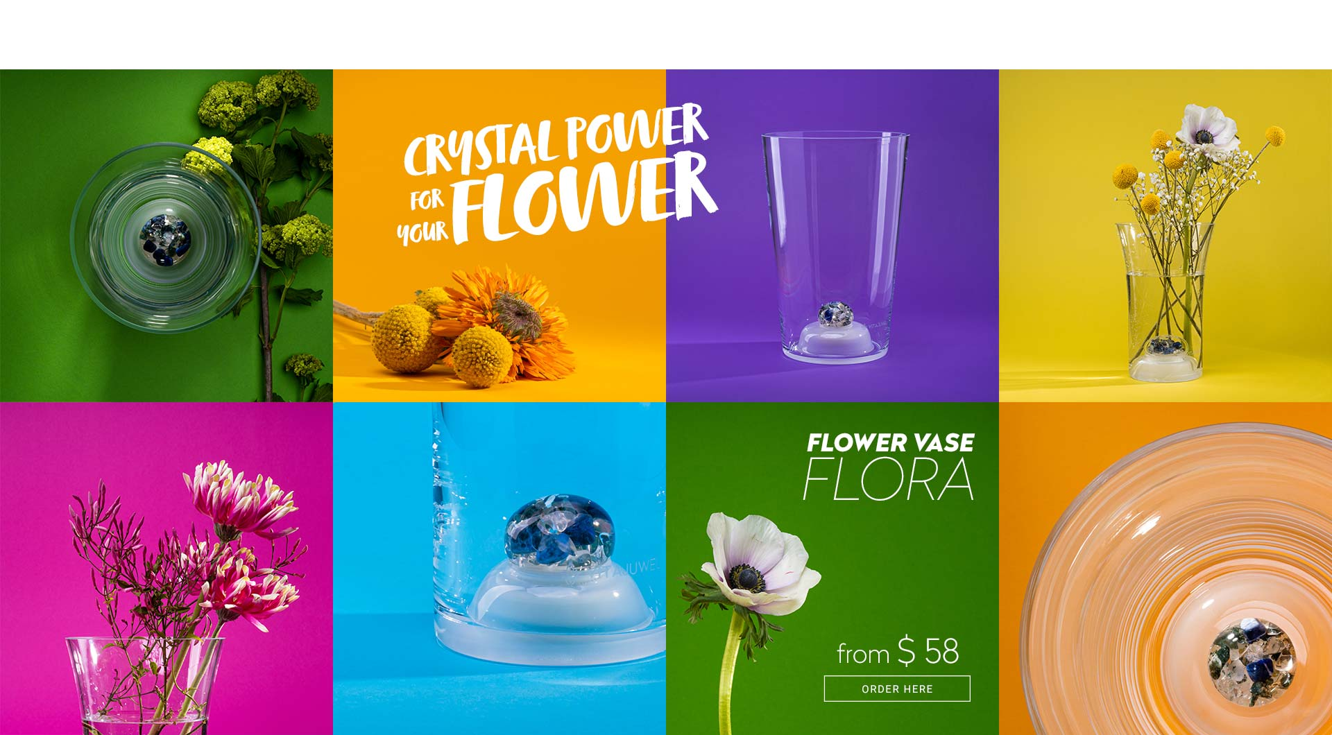 vitajuwel crystals glass flower vase flora