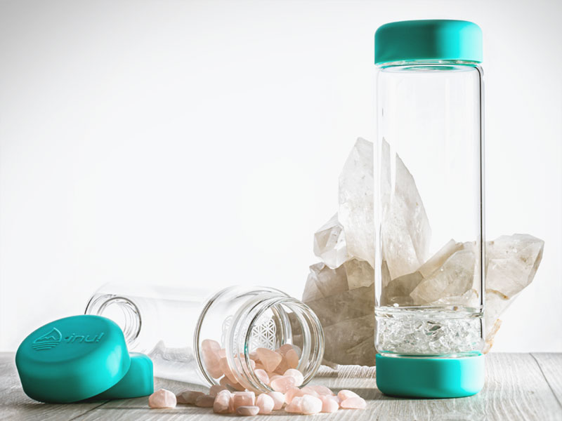 inu diy crystal water bottle glass bottle with gemstones