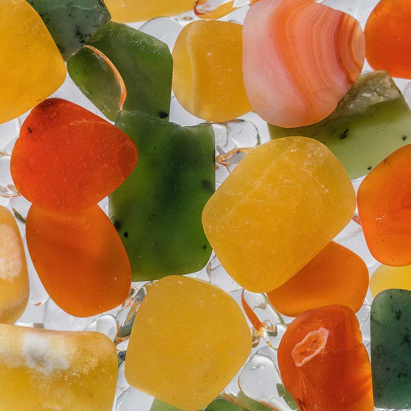 crystals jade carnelian orange calcite clear qaurtz