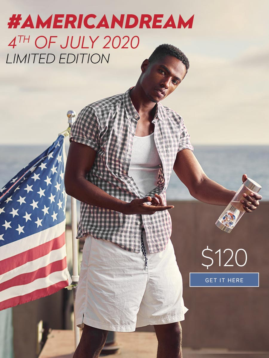 american dream crystal water bottle independence day